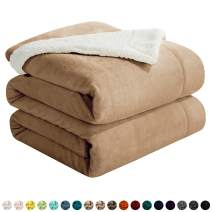 """Walensee Sherpa Fleece Blanket (King Size 108""""x90"""" Taupe) Plush Throw Fuzzy Super Soft Reversible Microfiber Flannel Blankets for Couch, Bed, Sofa Ultra Luxurious Warm and Cozy for All Seasons"""