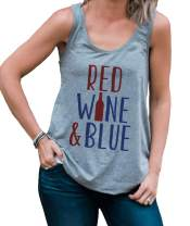 7 ate 9 Apparel Women's Red Wine & Blue 4th of July Grey Tank Top