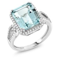 Gem Stone King Sterling Silver Simulated Aquamarine Antique Women's Ring (5.00 cttw Emerald Cut Available 5,6,7,8,9)