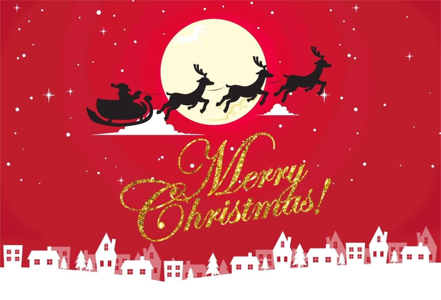 Laeacco Merry Christmas Backdrop Vinyl 10x6.5ft Santa Claus Drive The Reindeers Across The Full Moon Red Starry Sky White Houses Edge Background New Year's Eve Xmas Party Banner Child Baby Adult Shoot