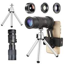 Dongzhur Monocular Telescope, 10-300X40 High Definition FMC BAK4 Monocular with Smartphone Holder, Tripod & 3 in 1 Phone Lens kit for Bird Watching Camping Travelling Hunting (Black)