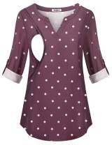 Hellmei Women's 3/4 Cuffed Blouses Sleeve Nursing Tops Polka Dot Roll Breastfeeding Shirts