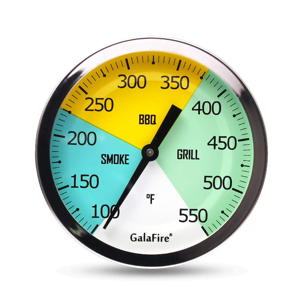 GALAFIRE 3 3/16 Inch Grill Thermometer for Smoker Wood Charcoal Pit, Large Face BBQ Temperature Gauge