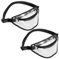 Clear Fanny Pack, BuyAgain 2 Pack Clear Bag Stadium Approved Waist Bag for Concerts, Sports, Travel and Daily Use