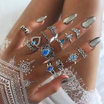Barode Boho Joint Knuckle Rings Vintage Hollow Carved Flower Finger Ring Sets Decor Blue Rhinestone Stackable Midi Hand Jewelry for Women and Girls (13Pcs)