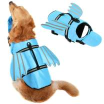 Dog Life Jacket Pet Puppy Life Vest for Small, Middle, Large Size Dogs, Dog Lifesaver Preserver Flotation Swimsuit with Handle for Swim, Pool, Beach, Boating