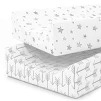 Changing Pad Cover Sheets | Premium 100% Jersey Knit Cotton Diaper Changing Pad Cover | Changing Table Pads Liner | Washable | Cradle Sheet Set | Boy 2 Pack | Super Soft | Safe for Babies | Grey