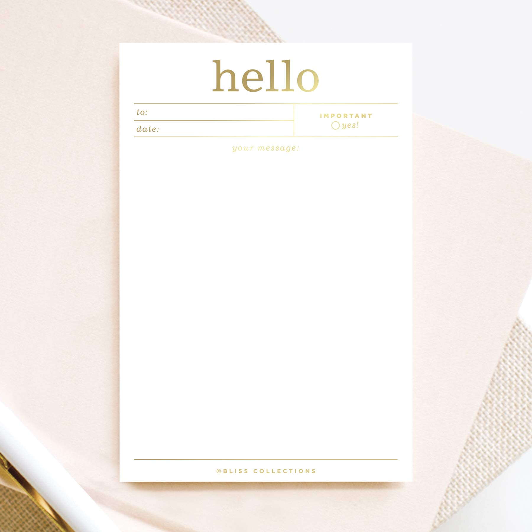 Bliss Collections Desk Notes Notepad, Hello 4x6 Office Notes, Real Gold foil, Tear Off pad, memo Telegram Design for Reminders, Thank You, just Because and More! 50 Sheets, Made in The USA