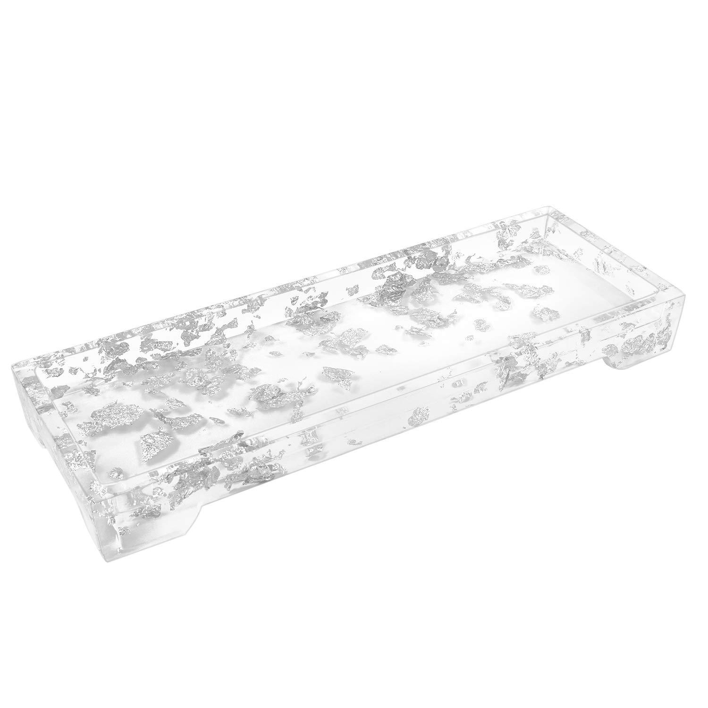 Luxspire Vanity Tray, Toilet Tank Storage Tray, Resin Bathtub Tray Bathroom Tray Marble Pattern Tray, Vanity Organizer for Tissues, Candles, Soap, Towel, Plant, etc - Silver White