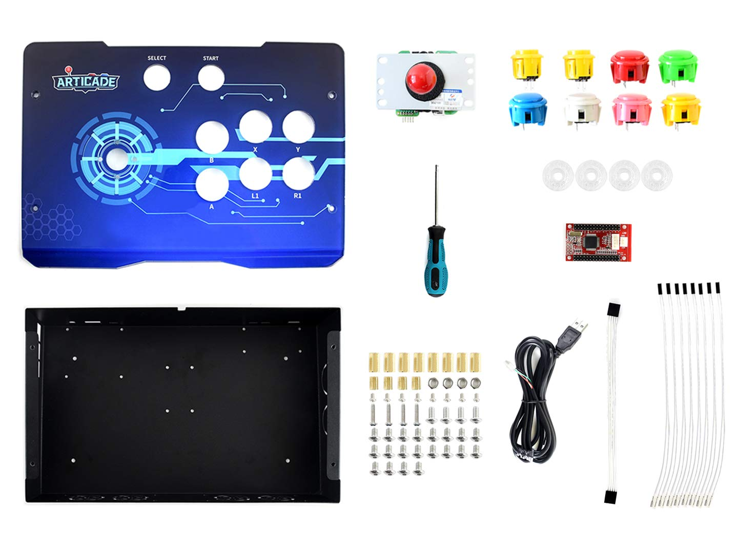 Waveshare Arcade-D-1P USB Arcade Control Box Provides Classic Joystick and Colorful Buttons Multiple Platform Compatibility Driver Free Plug and Play Supports Raspberry Pi PC Tablet Smart TV.