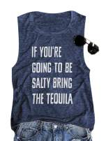SurBepo Women If You're Going to Be Salty Bring The Tequila Cinco De Mayo Shirt Funny Drinking Graphic Tank Top