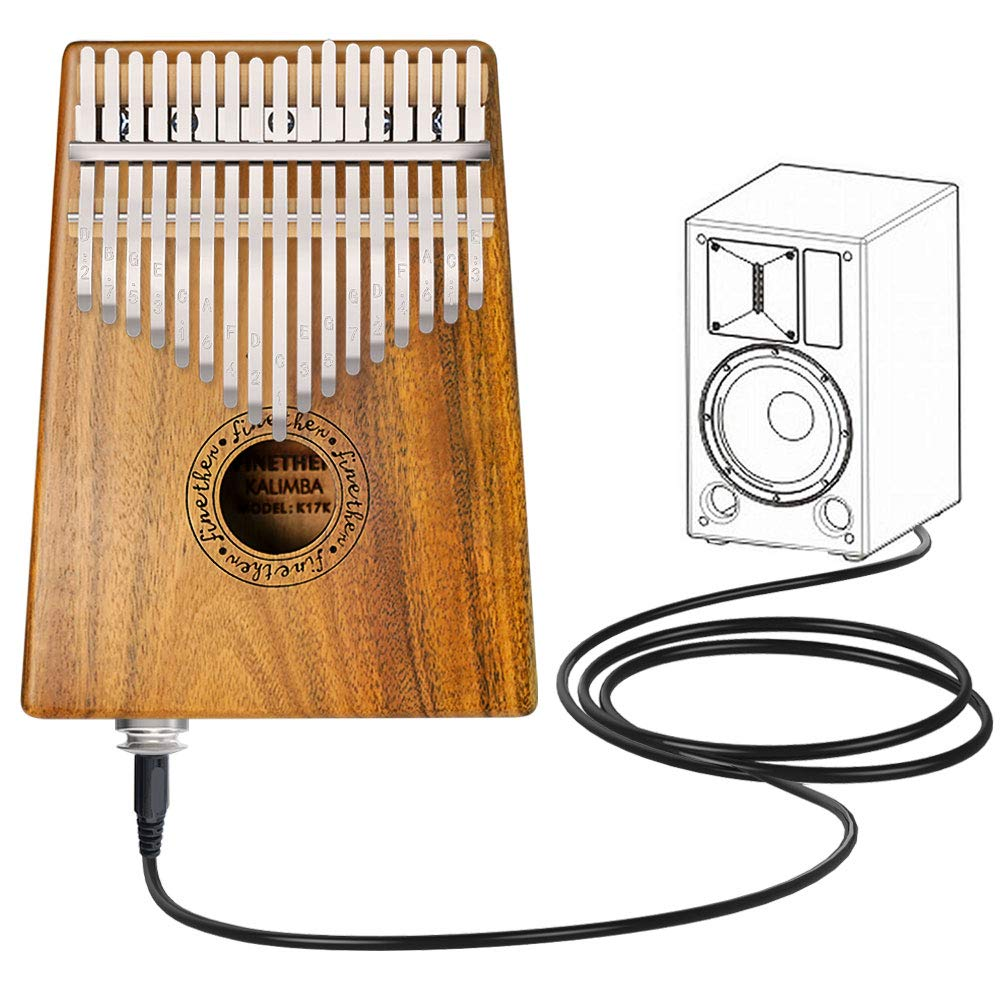 Finger Piano 17 Key Kalimba Thumb Piano Koa Wood Body Ore Metal Tines with Pickup Jack, Tuning Tool and Carry Bag by Finether