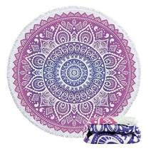 Violet Mist Round Beach Towels Indian Mandala Flower Roundie Blanket Boho Gypsy Large Microfiber Yoga Mat Tapestry Terry Soft Water Absorbent Towel Throw 59'' with Tassel Fringing (Pink)