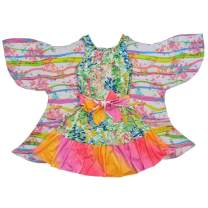 TwirlyGirl Spring Dress for Girls with Fairy Butterfly Wing Flowers Pink Orange