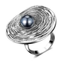 Mytys Vintage Silver Unique Rings Knot Twist Circle Designer Bali Design Solid Large Bold Statement Chunky Rings for Women