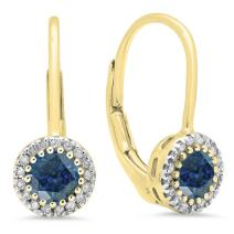 Dazzlingrock Collection 10K Ladies Halo Style Dangling Drop Earrings, Yellow Gold