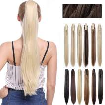 Claw Ponytail Extension Ombre Straight Jaw Ponytails Pony Tail Hairpiece Clip in Hair Extensions Real Natural as Human Synthetic Fibre for Women 145G Thick Long 26 inch golden blonde/bleach blonde