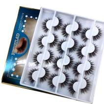 HBZGTLAD 12 pairs 3D Mink Lashes Natural False Eyelashes Dramatic Volume Fake Lashes Makeup Eyelash Extension Silk Eyelashes (C-2)