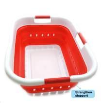 SAMMART Collapsible 3 Handled Plastic Laundry Basket - Foldable Pop Up Storage Container/Organizer - Portable Washing Tub - Space Saving Hamper/Basket (3 Handled Rectangular, White/Red)