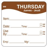 """DayMark Day of The Week 2"""" x 2"""" Removable Label, Thursday, Item/Date/Use by, (Roll of 500)"""