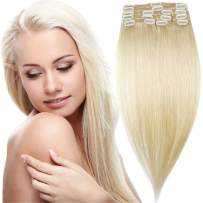 """18"""" 80g Clip in 100% Real Remy Human Hair Extensions Full Head Highlight (18 inch 80gram/2.85Oz #60 Platinum Blonde) 8 pcs Set Long Straight Natural Grade 10A Hair Pieces for Women"""