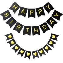 Mocoosy Happy Birthday Bunting Banner Signs Black with Shimmering Gold LettersHeart Shaped Banner for Kids Adults Birthday Party Decorations Supplies