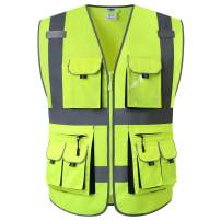 JKSafety 10 Pockets High Visibility Zipper Front Safety Vest Yellow with High Reflective Strips Meets ANSI/ISEA Standards (Yellow, Medium)