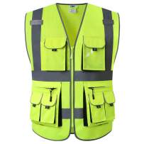JKSafety 10 Pockets High Visibility Zipper Front Safety Vest Yellow with High Reflective Strips Meets ANSI/ISEA Standards (Yellow, X-Large)