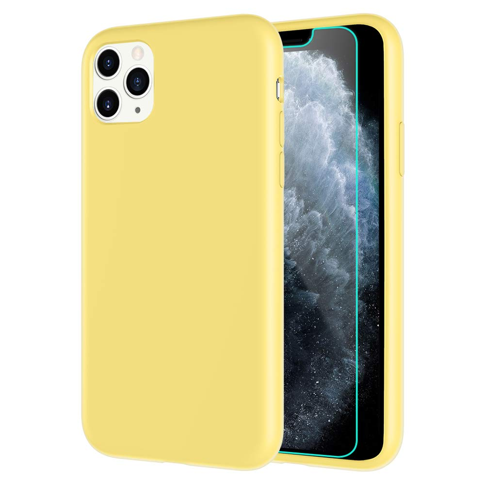 Caka Silicone Case for iPhone 11 Pro Max Liquid Silicone Case Soft Slim Protective Anti Scratch Shockproof Gel Rubber Smooth Touch Case for iPhone 11 Pro Max inch (6.5 inch)(2019 Release)(Yellow)