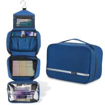Foldable Hanging Toiletry Bag for Men & Women, Portable Waterproof Wash Bag, Lightweight Travel Dopp kit Shaving Bag with 4 Compartments Large Capacity(Blue)