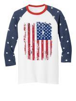 Tstars 4th of July Raglan Shirts USA Flag Patriotic 3/4 Jersey Men Women Shirts