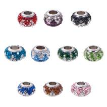 NBEADS 10 Pcs Mixed Color Polymer Clay Pave Two Tone Rhinestone European Beads, Large Hole Rondelle Charm Beads with 304 Stainless Steel Core Fit European Bracelet Snake Chain Bracelet