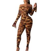 acelyn Women's Sexy Jumpsuits 2 Piece Outfits Off Shoulder Long Sleeve Bodysuit + Long Pants Clubwear Set
