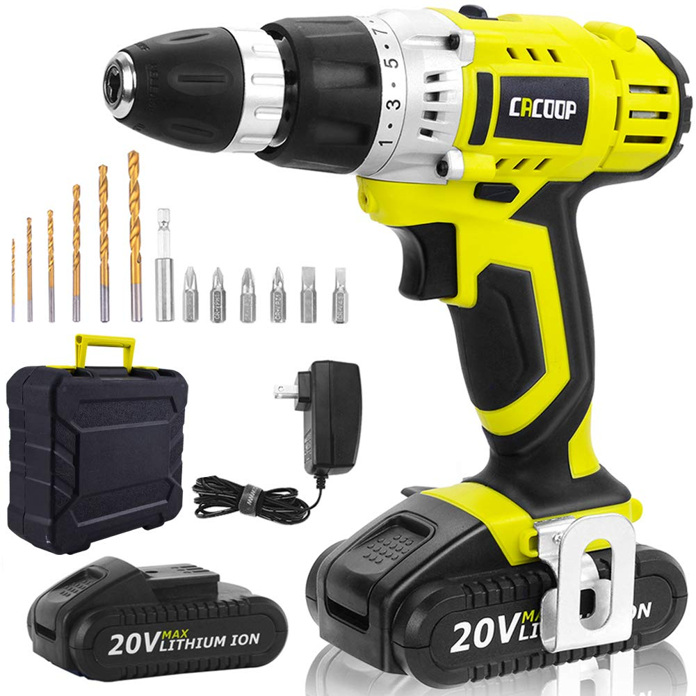 CACOOP Cordless Drill Driver 20V Power Drill Kit, Electric Drill Set, 13 pcs Drills& Bits Kit, 2 pcs 1500mAh Lithium-ion Battery, Charger and Storage&Carry Case