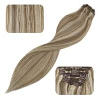 YoungSee 18inch Extensions Clip in Human Hair Light Brown Highlight with Platinum Blonde Dip Dyed Clip in Hair Extensions Remy Human Hair 120G 7Pcs