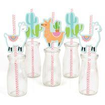 Whole Llama Fun - Paper Straw Decor - Llama Fiesta Baby Shower or Birthday Party Striped Decorative Straws - Set of 24