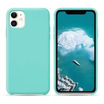 HONOVI iPhone 11 Open Bottom Liquid Silicone Case, Slim Anti Slip Case, Soft Touch Rubber Phone Case with Microfiber Lining for iPhone 11 6.1 Inch - Mint Green