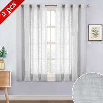 """NICETOWN 45"""" Linen Look Sheer Curtains - Grommet Top Half Window Thick & Soft Voile Window Treatment Draperies for Kitchen/Nursery/Bathroom/Cafe (Light Grey, 52"""" Wide, Sold as 2 Panels)"""