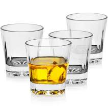 LUXU Whiskey Glasses(Set of 4)-Square bottom,11 oz Clear Scotch Glasses,Old Fashioned Glasses,Unique Bourbon Rock Glasses,Large Bar Glasses,Weight Bottom Tumblers for cocktails