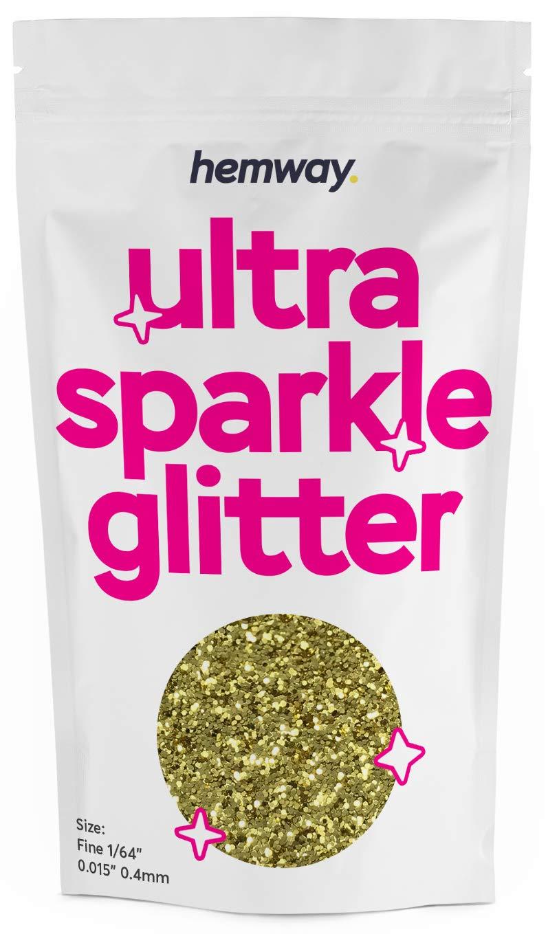 "Hemway FINE Premium Multi Purpose Glitter 1/64"" 0.015"" 0.4mm 375 microns Dust/Powder 100g / 3.5oz for Crafts Cosmetic Wine Glass Face Art Nail Skin Beards Festival (Sand Gold)"