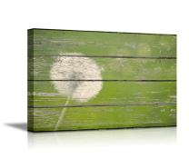 """wall26 - Canvas Prints Wall Art - Dandelion on Vintage Wood Board Background Stretched Canvas Wrap. Ready to Hang Rustic Home Decoration - 12"""" x 18"""""""