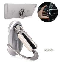 Leccod Multipurpose Mobile Phone Bracket Holder, Phone Ring Holder Finger Kickstand, 360° Rotation Metal Ring Grip,Car Air Vent Mount for All Smartphone (Silver, 1Pack)