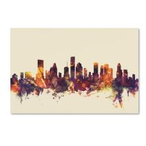 Houston Texas Skyline by Michael Tompsett, 22x32-Inch Canvas Wall Art