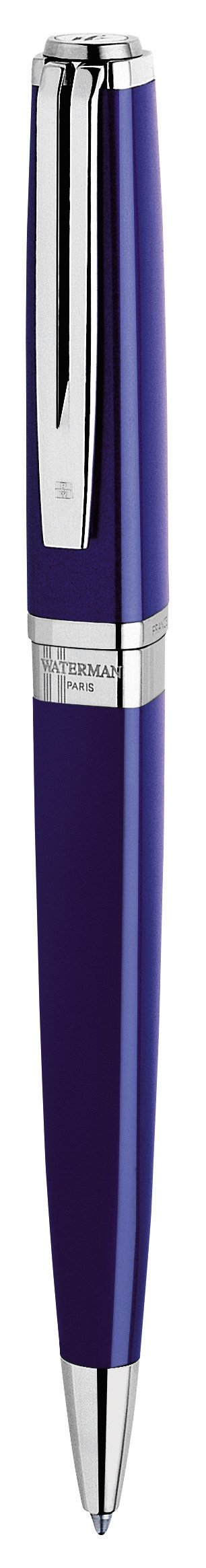 Waterman Exception Ballpoint Pen, Slim Blue with Silver Plated Clip, Medium Point with Blue Ink Cartridge, Gift Box