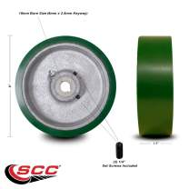 """6"""" x 1.5"""" Green Polyurethane Tread on Cast Iron Keyed Drive Wheel - 18mm Plain Bore with Two 1/4"""" Set Screws - Service Caster Brand"""