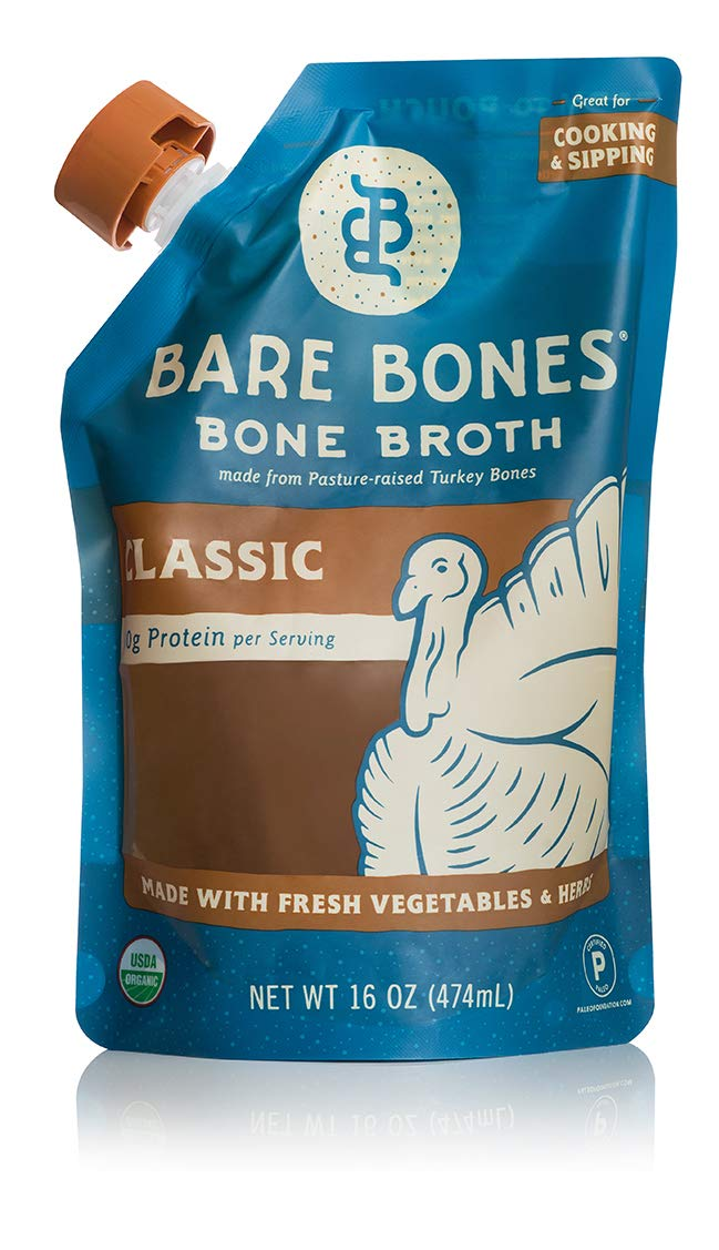 Bare Bones Turkey Bone Broth for Cooking and Sipping, Pasture Raised, Organic, Protein and Collagen Rich, Keto Friendly, 16 oz, Pack of 9