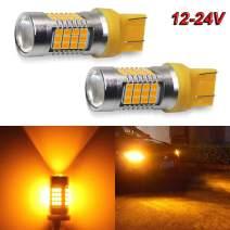 7443 Led Bulbs Amber Flashing Blinker Turn Signal Lights 2000LM 54Pcs SMD LED Chipsets 12-24V 2PC Pack 7440 T20 Led Bulb with Projector for Turn Signal Lights, Side Marker Lights (7443 Amber Yellow)