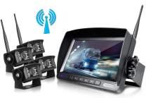 ZEROXCLUB Digital Wireless Backup Camera System Kit No Interference IP69 Waterproof Wireless Rearview Camera 7''Wireless Reversing Monitor for Truck/Semi-Trailer/RV/Box Truck (WX04)