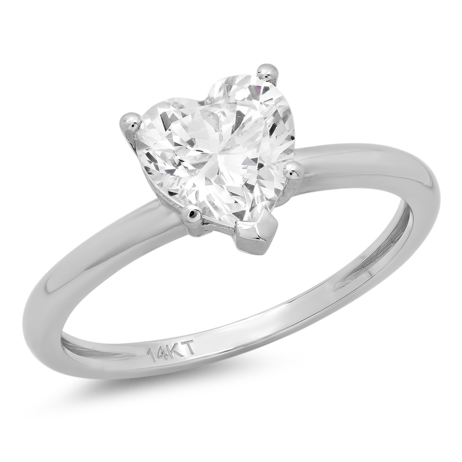 2.0 ct Brilliant Heart Cut Solitaire Highest Quality Lab Created White Sapphire Ideal VVS1 D 5-Prong Engagement Wedding Bridal Promise Anniversary Ring Solid Real 14k White Gold for Women