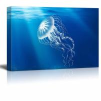 wall26 - Under The Sea Canvas Wall Art - A Transparent Jellyfish - Gallery Wrap Modern Home Decor   Ready to Hang - 12x18 inches